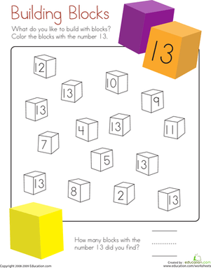 Number 13 Coloring Page Worksheet Education Com
