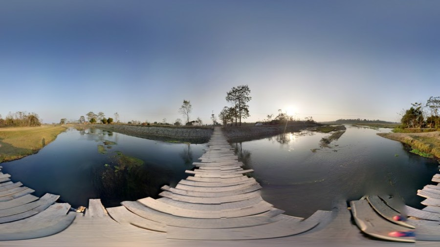 360 Panoroma Photo of a river in Sauraha Chitwan