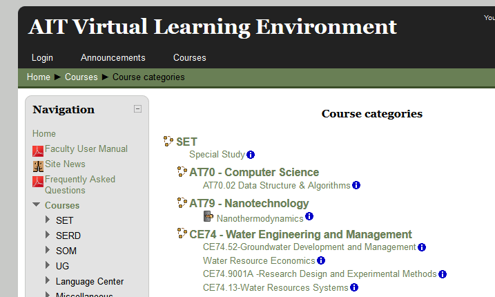 Course integration in Asian Institute of Technology (AIT)'s Moodle VLE