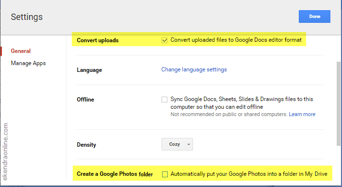 Google Drive settings for native files and Google photos integration