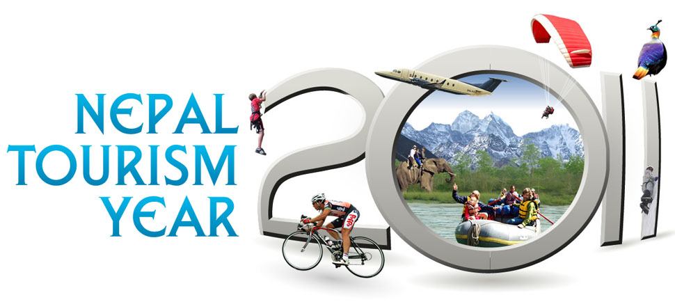 Nepal Tourism Year 2011 logo displaying potential adventure, sports, mountaineering, wildlife and much more