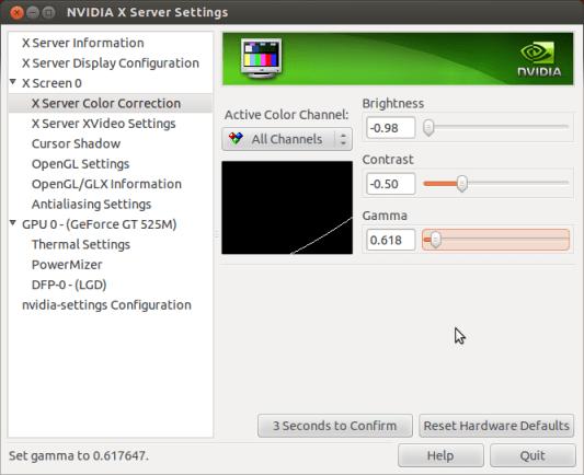 Adjusting brightness in nVidia Settings in Ubuntu, Toshiba Satellite Laptops; Adjusted status