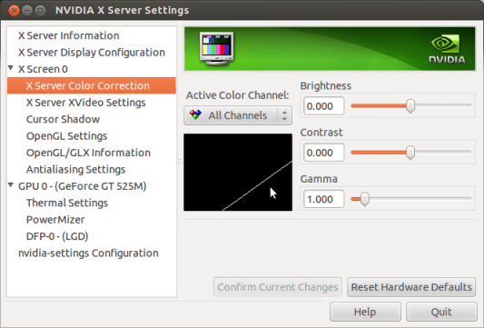 Adjusting brightness in nVidia Settings in Ubuntu, Toshiba Satellite Laptops; Default status