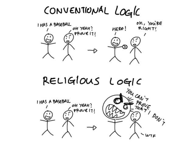 difference in conventional logic and religious logic