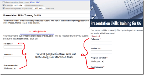 Using Google Docs to achieve productivity as in University student's response collection shown here