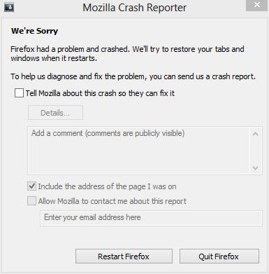 Mozilla Firefox Crash Reporter, a typical screenshot