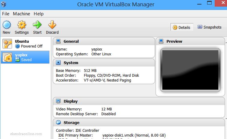 Yapixx installed in Oracle VM VirtualBox Manager