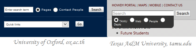 Search box of University of Oxford vs that of Texas A&M University - searching is the ultimate pathway to information in university websites.