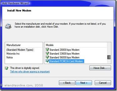 Install a new mobile modem as PCMCIA Card Modem
