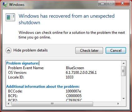 Windows 7 Crash