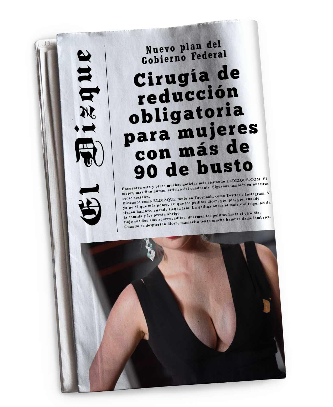 Cirugía de reducción obligatoria para mujeres con más de 90 de busto: Gobierno