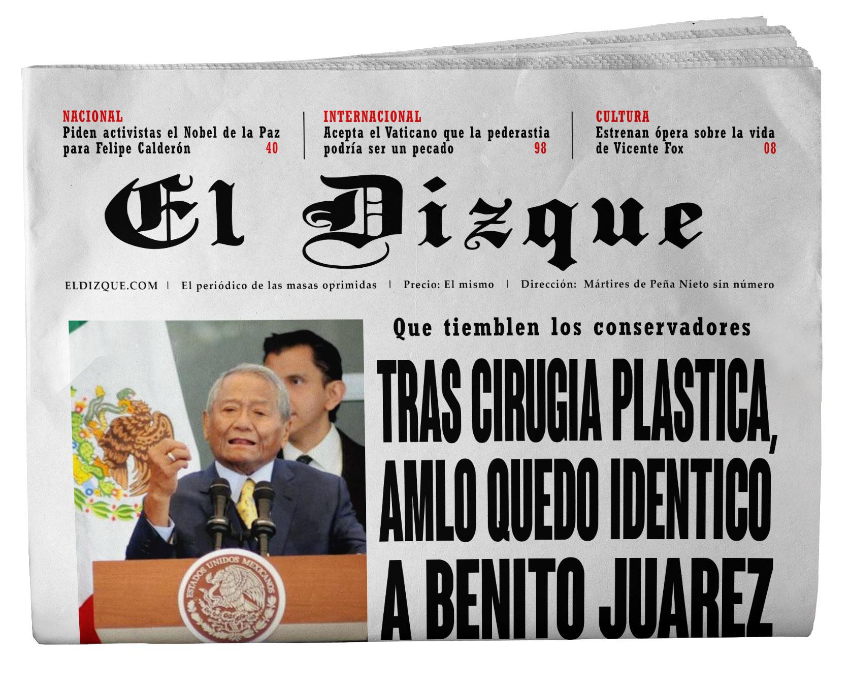 Tras cirugía plástica, AMLO quedó idéntico a Benito Juárez