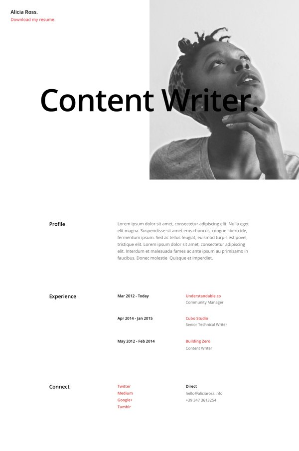 resume page layout