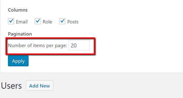 items per page