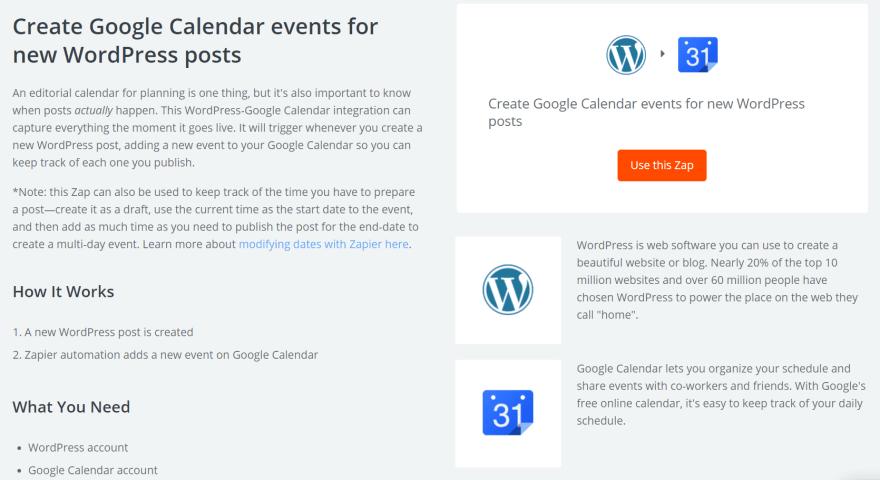 The Google Calendar integration Zap.