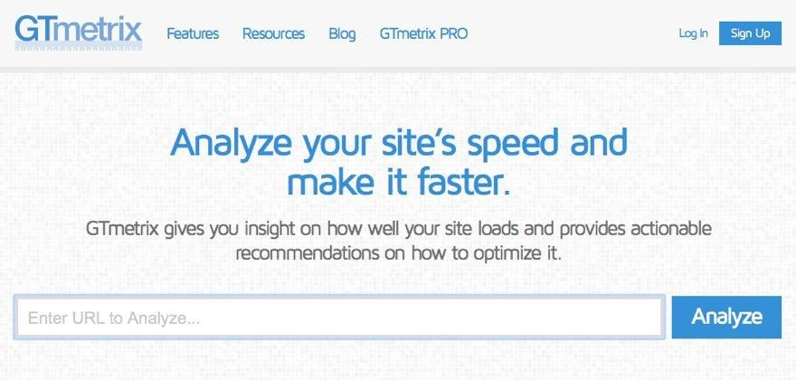 GTmetrix speed testing