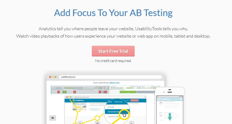 The UsabilityTools homepage.