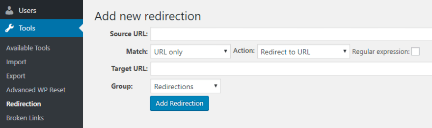 Setting up a new redirect.