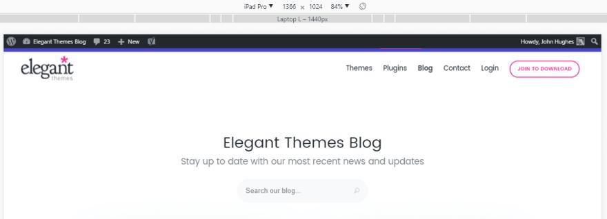 Elegant Theme's mobile website.