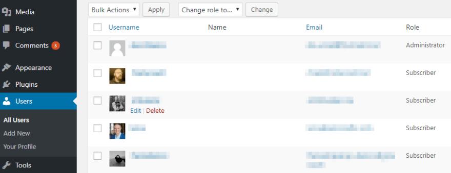 The dashboard Users screen.