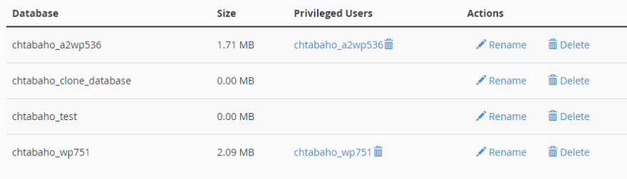 A list of existing databases.