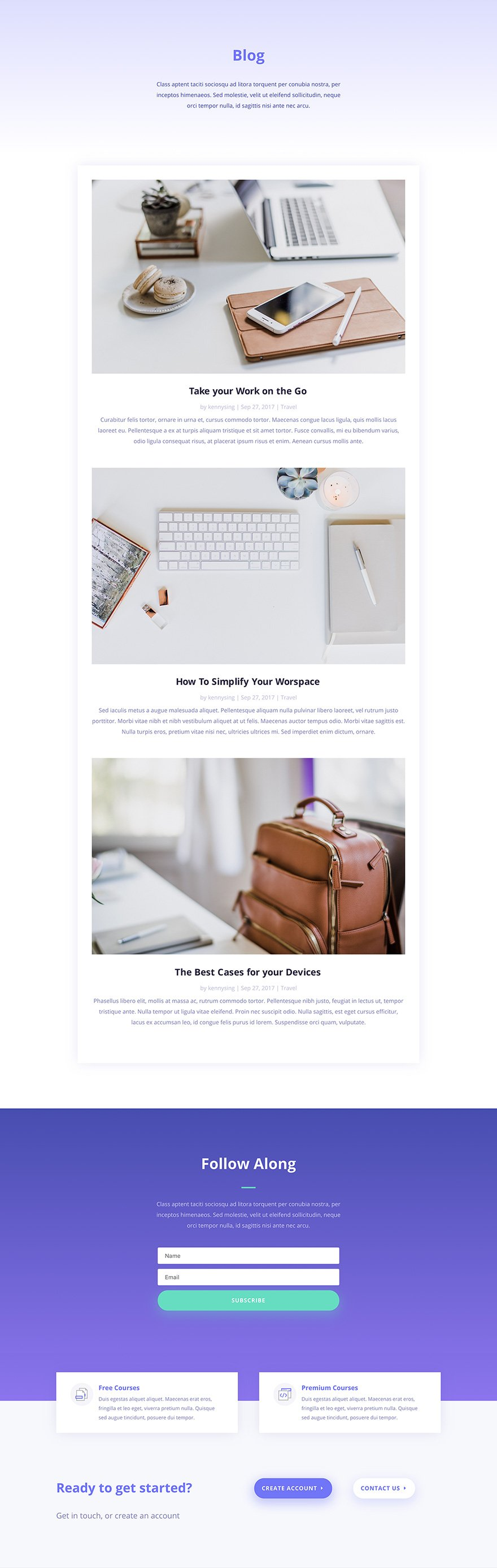 e-course blog layout