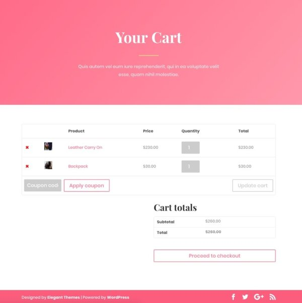 Cart page