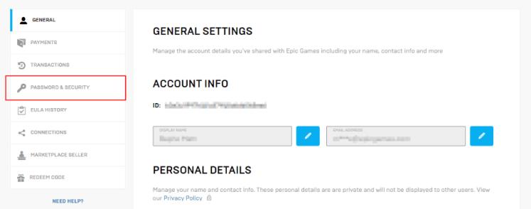 أمان حساب epic games وكلمة المرور الخاصة به