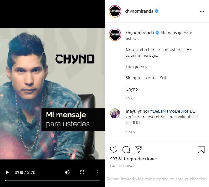 Chyno Miranda confiesa lo difícil de su recuperación tras padecer secuelas de Covid-19
