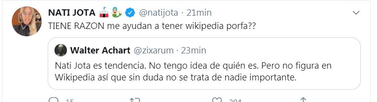 Nati Jota Was A Trend And Published An Ironic Message I Am Going To Ask My Friends If They Did Not Hit An Ex Archyde