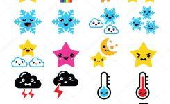 Funny Cartoon Weather Icons Set Isolated On White Vector By Redkoala