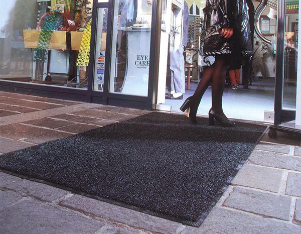 tapis brosse brush noir gris clair