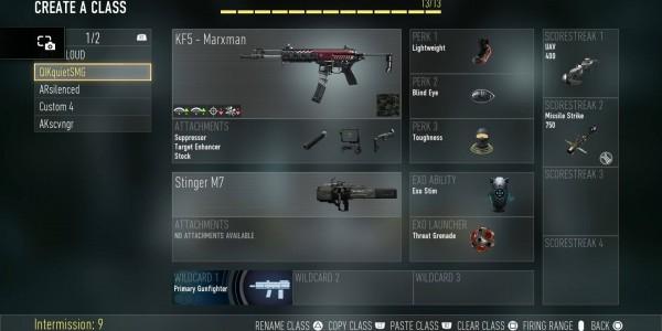 Call of Duty AW custom class MP