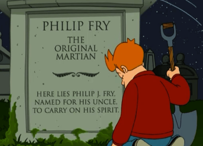 """Fry realizes his brother Yancy named his son after him in the season three episode """"The Luck of the Fryrish."""""""