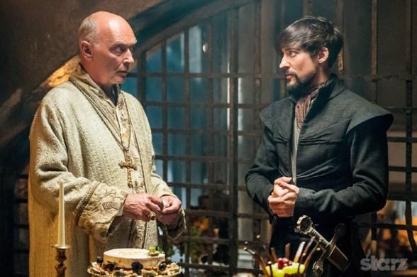 The impostor Pope Sixtus (James Faulkner) and his son Girolamo Riario (Blake Ritson) plot their crusade. Photo by Starz.