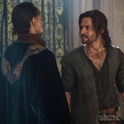 Leonardo (Tom Riley) confronts his betrayer, Al-Rahim (Alexander Siddig). Photo by Starz.