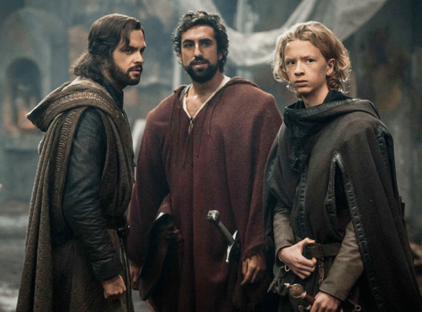 Leonardo (Tom Riley), Zo (Gregg Chillin), and Nico (Eros Vlahos) prepare for the journey to Vlad's castle. Photo by Starz.