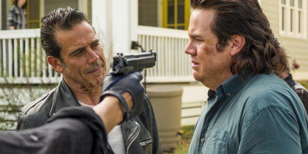 Josh McDermitt as Dr. Eugene Porter, Jeffrey Dean Morgan as Negan- The Walking Dead _ Season 7, Episode 8 - Photo Credit: Gene Page/AMC
