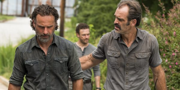 Andrew Lincoln as Rick Grimes, Ross Marquand as Aaron, Steven Ogg as Simon - The Walking Dead _ Season 7, Episode 9 - Photo Credit: Gene Page/AMC