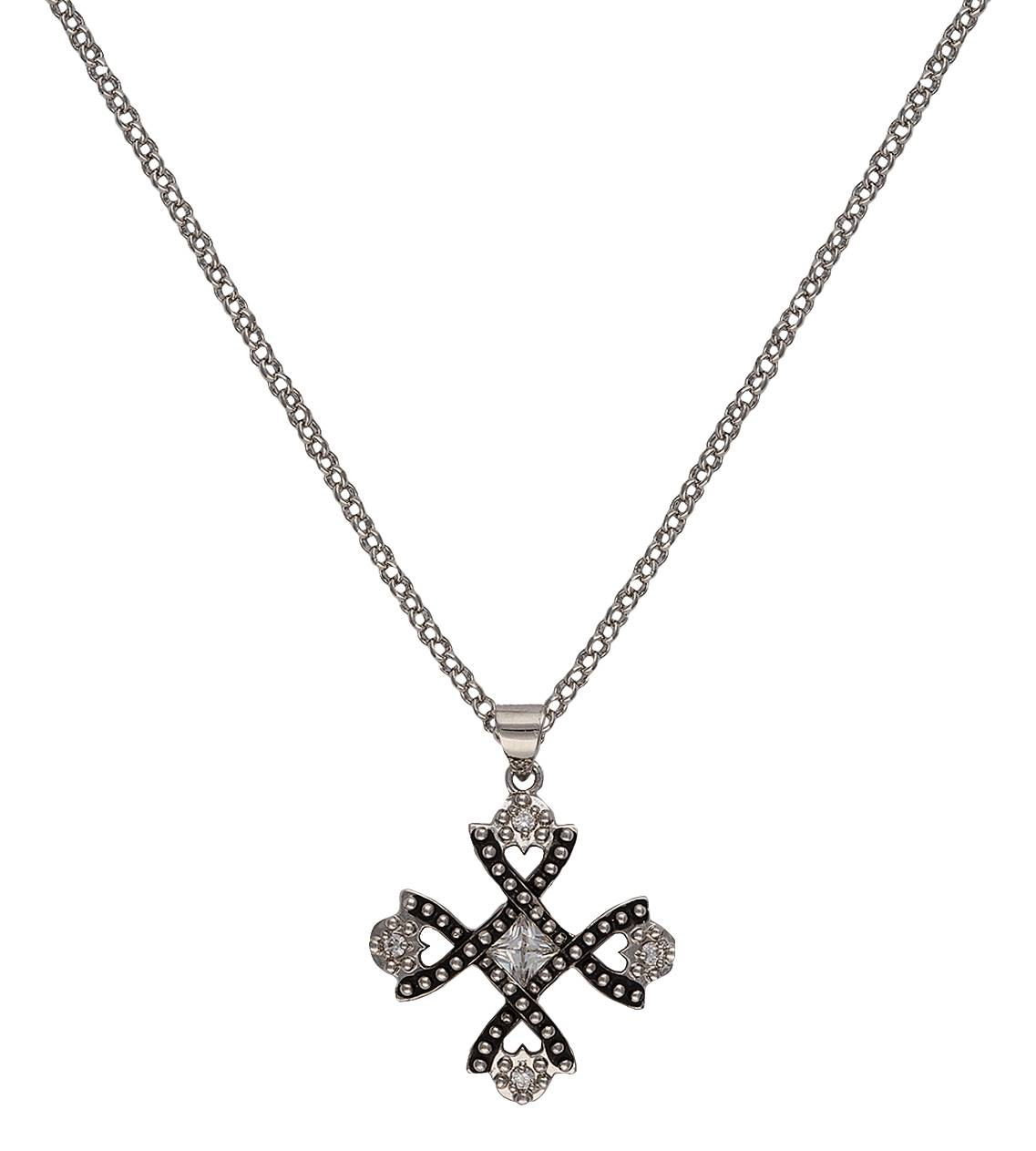 Montana Silversmiths Antiqued Crystal Braided Cross Necklace