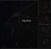 Gözlem alanını gösteren ölçekli grafik (Telif: ESO/A. Fujii/M. Hayes and Digitized Sky Survey 2)