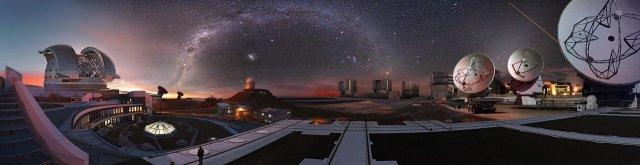 Composición de imágenes de los observatorios de ESO