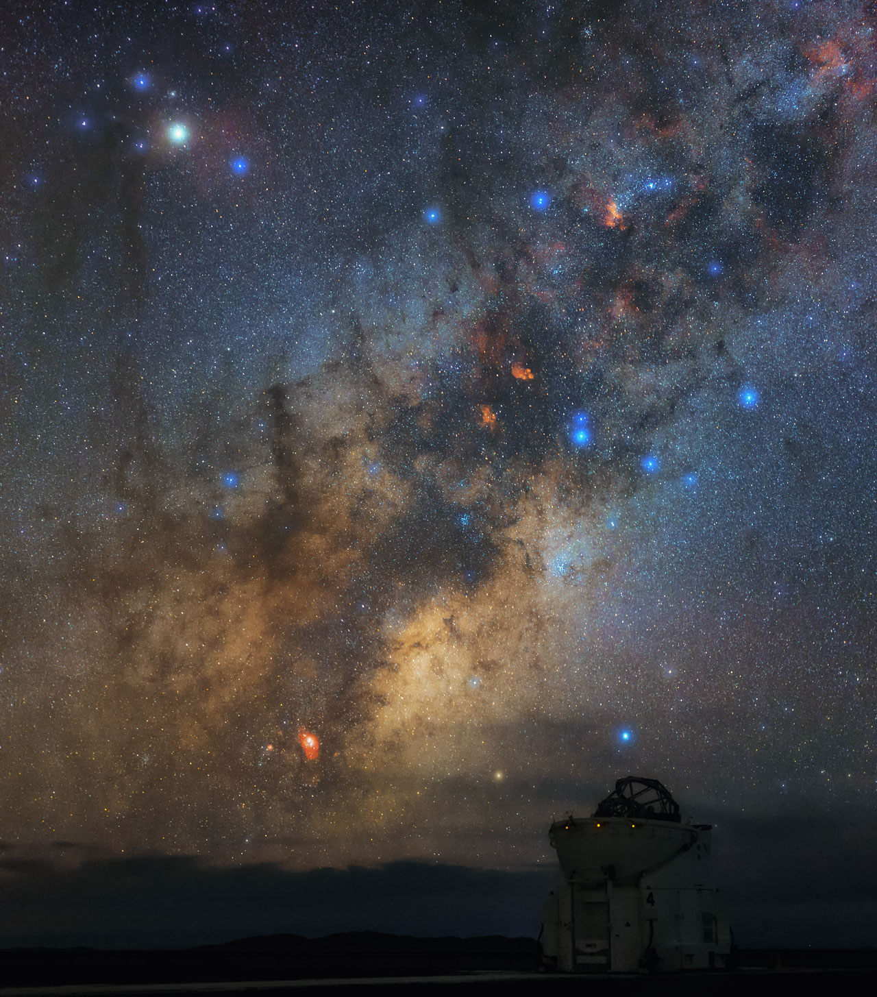 Antares Overlooking An Auxiliary Telescope Eso