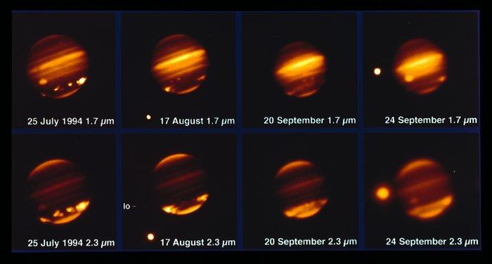 Comet Shoemaker–Levy 9 impacting Jupiter in 1994
