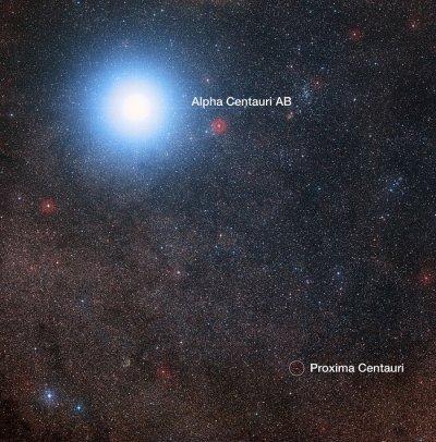 Bize en yakın sistemin Sayısallaştırılmış Gökyüzü Tarayıcısı-2 ile alınmış görüntüsü. (Telif: Digitized Sky Survey 2, Acknowledgement: Davide De Martin/Mahdi Zamani)