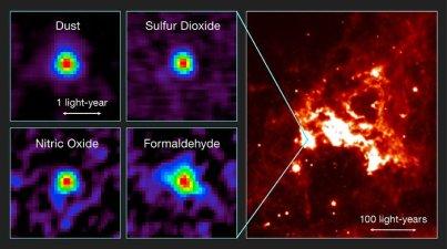 Soldaki: Büyük Macellan Bulutu çekirdeğinde en göze çarpan kimyasal özellik sülfür dioksit, nitrik oksit ve formaldehid gibi bilinen molekülleri içermesi ve bununla birlikte sık rastlanan toz içeriğne sahip olmasıdır.  Sağdaki ise bölgenin Spitzer teleskopu ile elde edilmiş kızılötesi görüntüsüdür (T. Shimonishi/Tohoku University, ALMA (ESO/NAOJ/NRAO)).