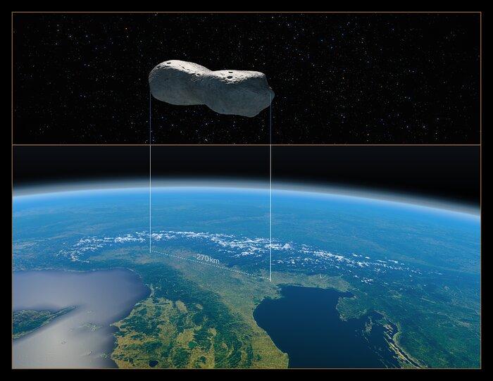 Asteroit Kleopatra'nın kuzey İtalya ile boyut karşılaştırması