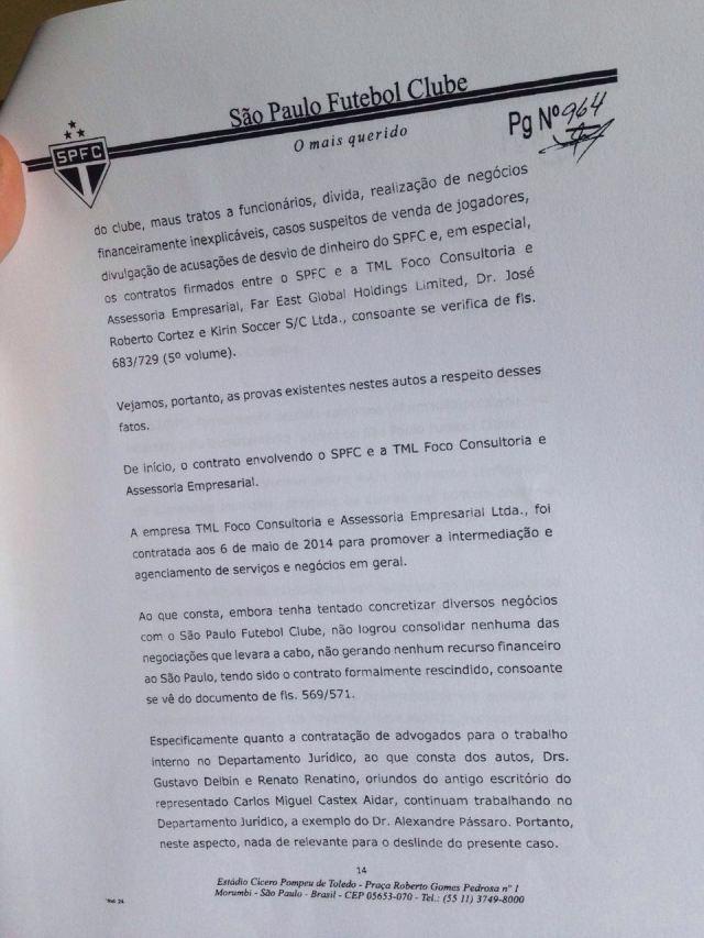 Segunda parte do parecer da Comissão de Ética do São Paulo sobre Aidar