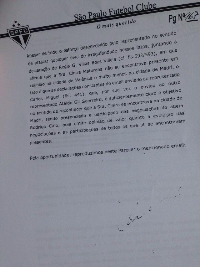 Quinta parte do parecer da Comissão de Ética do São Paulo sobre Aidar