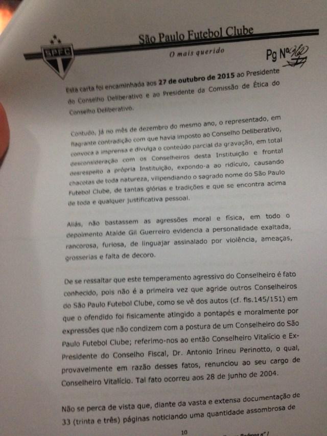 Sexta parte do Parecer da Comissão de Ética do São Paulo sobre Ataíde